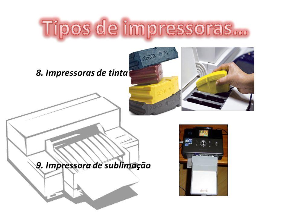 8. Impressoras de tinta sólida 9. Impressora de sublimação