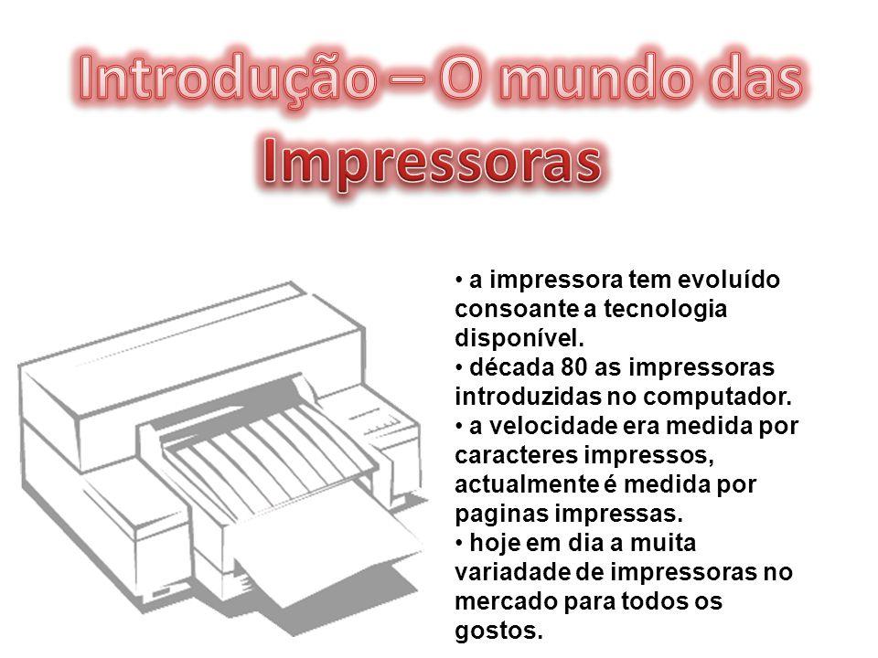 a impressora tem evoluído consoante a tecnologia disponível. década 80 as impressoras introduzidas no computador. a velocidade era medida por caracter