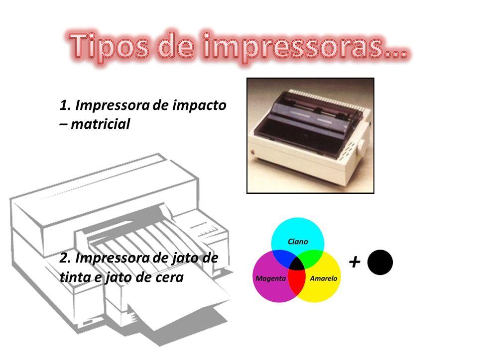 1. Impressora de impacto – matricial 2. Impressora de jato de tinta e jato de cera