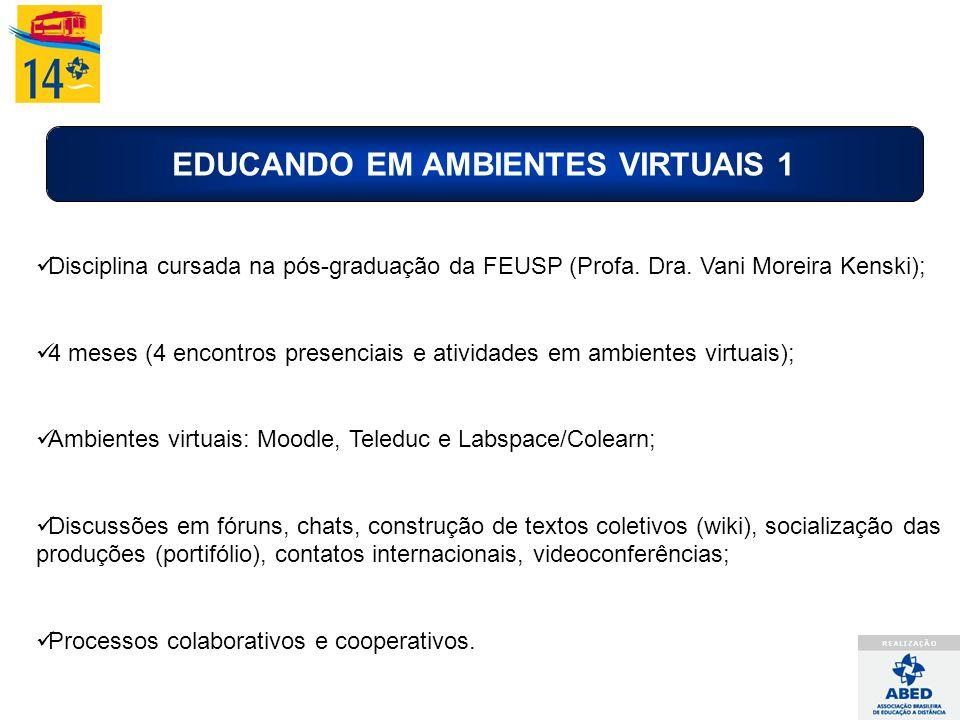 EDUCANDO EM AMBIENTES VIRTUAIS 1 Disciplina cursada na pós-graduação da FEUSP (Profa. Dra. Vani Moreira Kenski); 4 meses (4 encontros presenciais e at