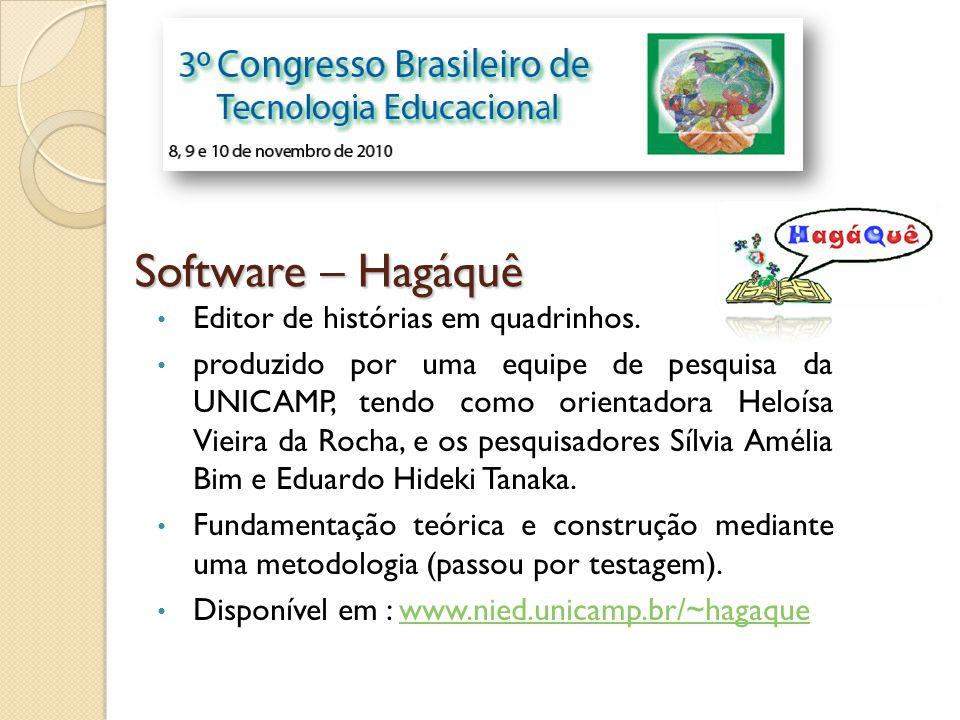 Software – Hagáquê Editor de histórias em quadrinhos. produzido por uma equipe de pesquisa da UNICAMP, tendo como orientadora Heloísa Vieira da Rocha,