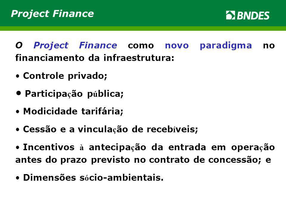 O Project Finance como novo paradigma no financiamento da infraestrutura: Controle privado; Participa ç ão p ú blica; Modicidade tarifária; Cessão e a