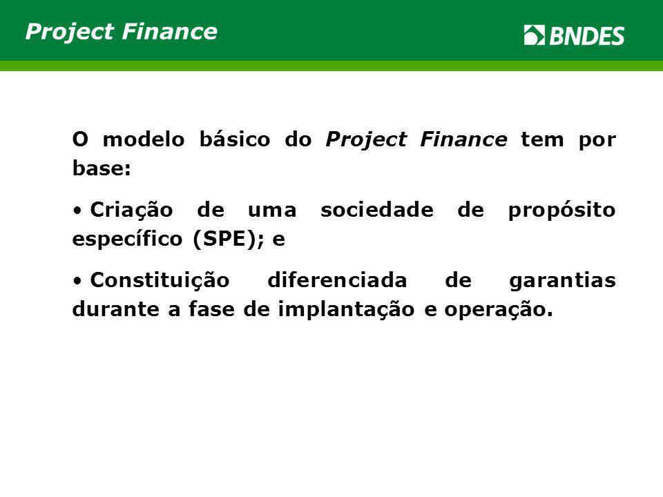 O modelo básico do Project Finance tem por base: Criação de uma sociedade de propósito específico (SPE); e Constituição diferenciada de garantias durante a fase de implantação e operação.
