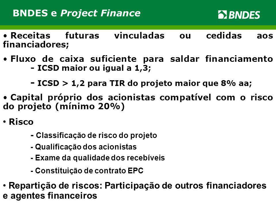 Receitas futuras vinculadas ou cedidas aos financiadores; Fluxo de caixa suficiente para saldar financiamento - ICSD maior ou igual a 1,3; - ICSD > 1,