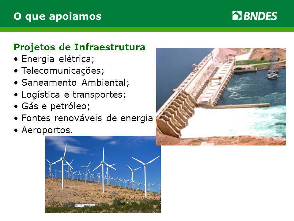 Projetos de Infraestrutura O que apoiamos Energia elétrica; Telecomunicações; Saneamento Ambiental; Logística e transportes; Gás e petróleo; Fontes renováveis de energia Aeroportos.