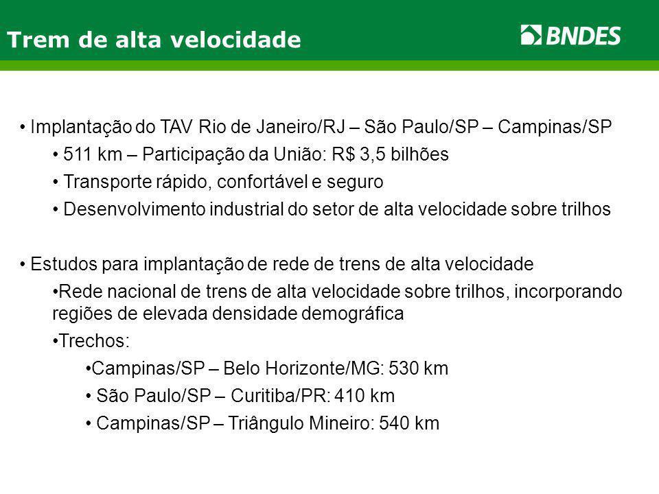 Trem de alta velocidade Implantação do TAV Rio de Janeiro/RJ – São Paulo/SP – Campinas/SP 511 km – Participação da União: R$ 3,5 bilhões Transporte rápido, confortável e seguro Desenvolvimento industrial do setor de alta velocidade sobre trilhos Estudos para implantação de rede de trens de alta velocidade Rede nacional de trens de alta velocidade sobre trilhos, incorporando regiões de elevada densidade demográfica Trechos: Campinas/SP – Belo Horizonte/MG: 530 km São Paulo/SP – Curitiba/PR: 410 km Campinas/SP – Triângulo Mineiro: 540 km