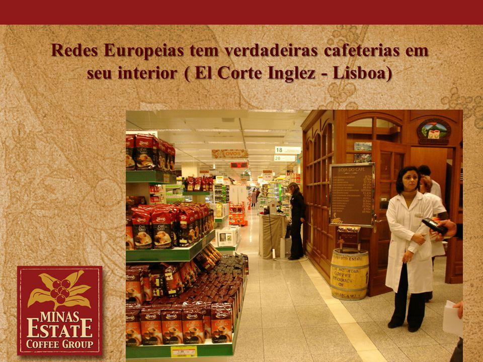 Redes Europeias tem verdadeiras cafeterias em seu interior ( El Corte Inglez - Lisboa)