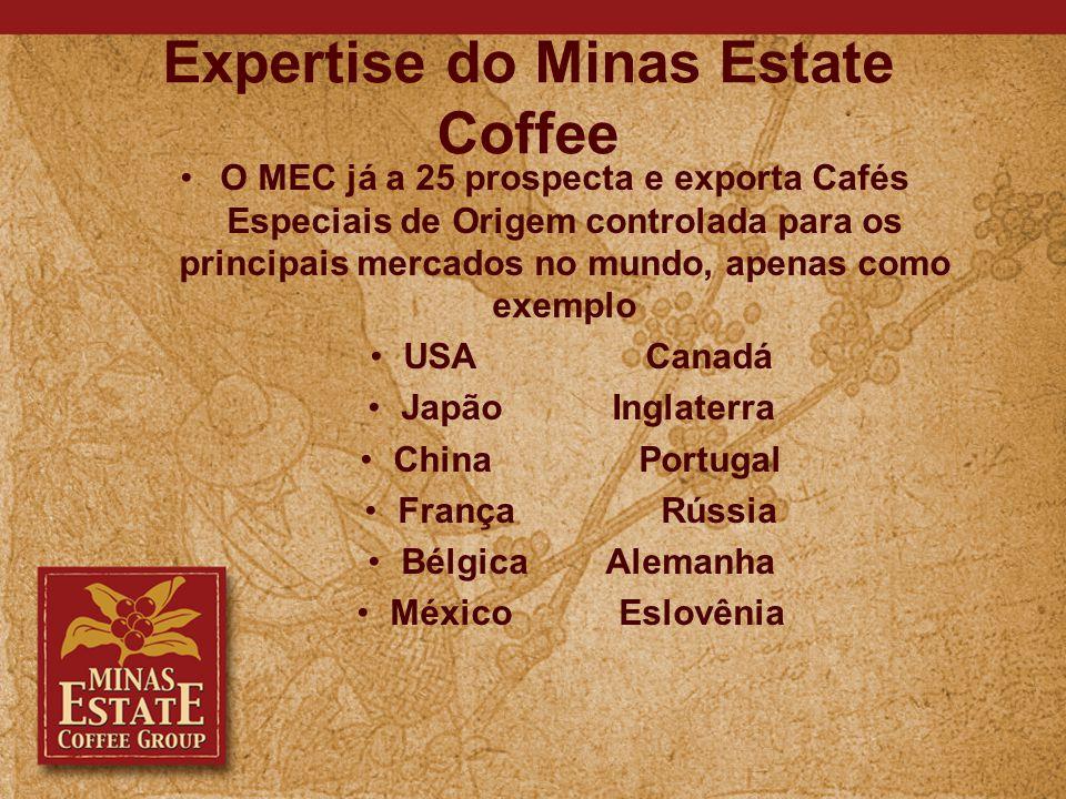 Expertise do Minas Estate Coffee O MEC já a 25 prospecta e exporta Cafés Especiais de Origem controlada para os principais mercados no mundo, apenas como exemplo USA Canadá Japão Inglaterra China Portugal França Rússia Bélgica Alemanha México Eslovênia