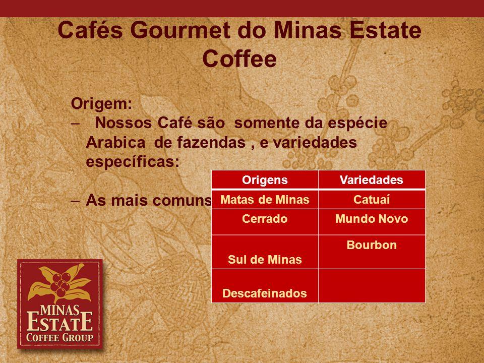 Cafés Gourmet do Minas Estate Coffee Origem: – Nossos Café são somente da espécie Arabica de fazendas, e variedades específicas: – As mais comuns: OrigensVariedades Matas de MinasCatuaí CerradoMundo Novo Sul de Minas Bourbon Descafeinados