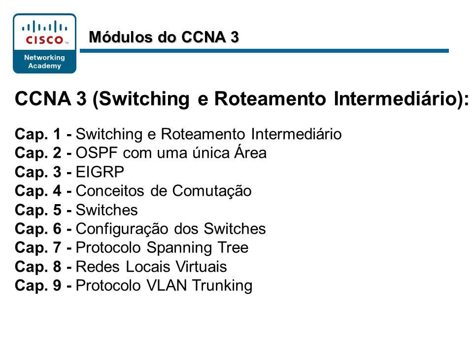 CCNA 3 (Switching e Roteamento Intermediário): Cap. 1 - Switching e Roteamento Intermediário Cap. 2 - OSPF com uma única Área Cap. 3 - EIGRP Cap. 4 -