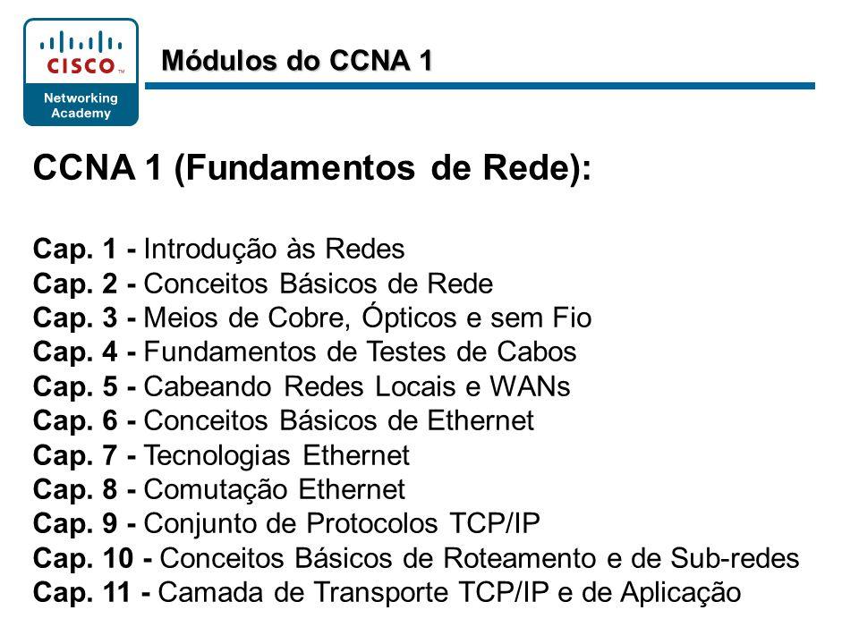 CCNA 1 (Fundamentos de Rede): Cap. 1 - Introdução às Redes Cap. 2 - Conceitos Básicos de Rede Cap. 3 - Meios de Cobre, Ópticos e sem Fio Cap. 4 - Fund