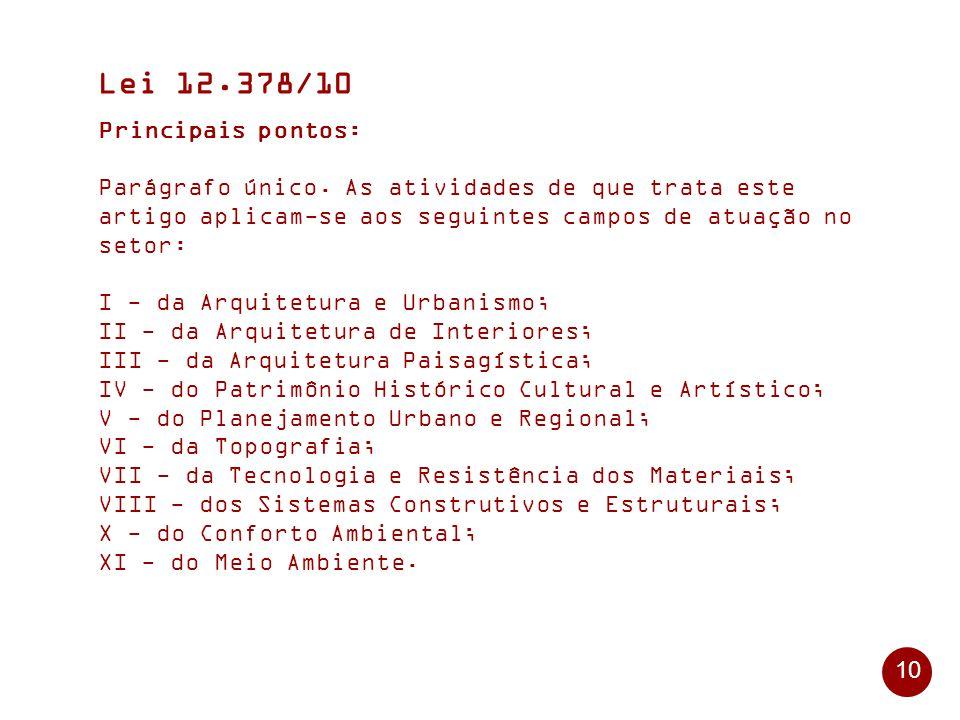 10 Lei 12.378/10 Principais pontos: Parágrafo único.