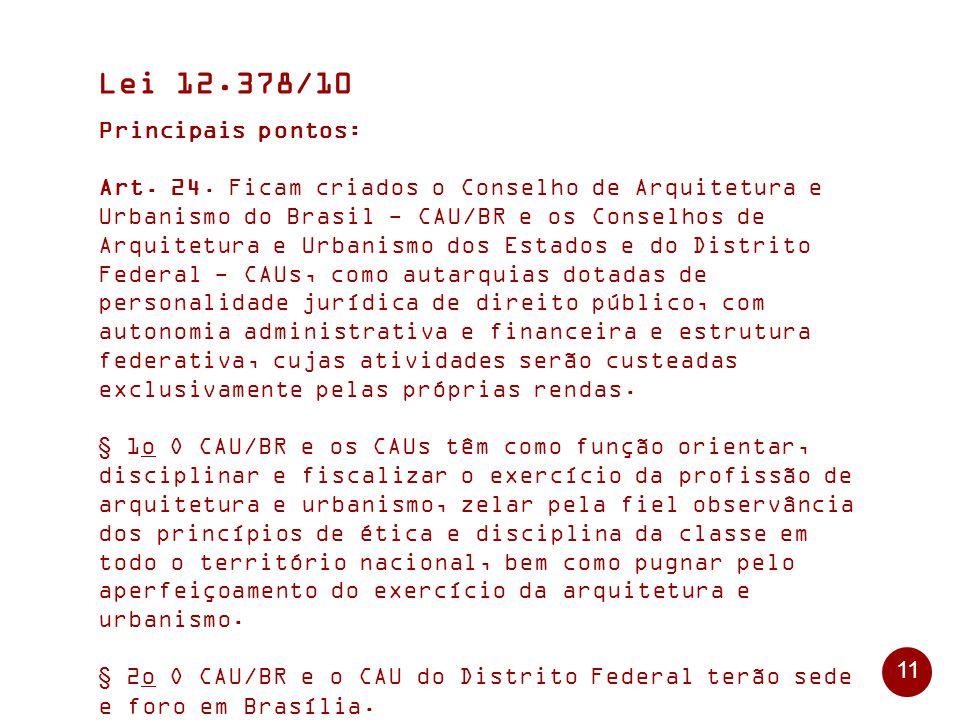 11 Lei 12.378/10 Principais pontos: Art.24.