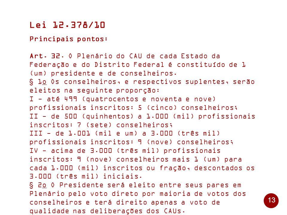 13 Lei 12.378/10 Principais pontos: Art.32.