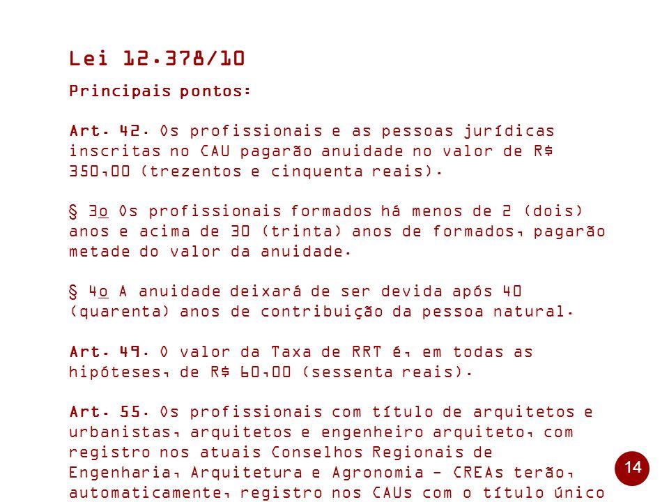 14 Lei 12.378/10 Principais pontos: Art.42.