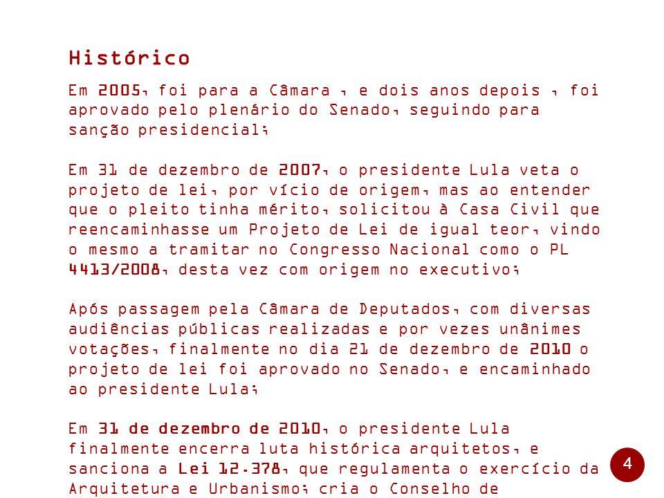 4 Histórico Em 2005, foi para a Câmara, e dois anos depois, foi aprovado pelo plenário do Senado, seguindo para sanção presidencial; Em 31 de dezembro de 2007, o presidente Lula veta o projeto de lei, por vício de origem, mas ao entender que o pleito tinha mérito, solicitou à Casa Civil que reencaminhasse um Projeto de Lei de igual teor, vindo o mesmo a tramitar no Congresso Nacional como o PL 4413/2008, desta vez com origem no executivo; Após passagem pela Câmara de Deputados, com diversas audiências públicas realizadas e por vezes unânimes votações, finalmente no dia 21 de dezembro de 2010 o projeto de lei foi aprovado no Senado, e encaminhado ao presidente Lula; Em 31 de dezembro de 2010, o presidente Lula finalmente encerra luta histórica arquitetos, e sanciona a Lei 12.378, que regulamenta o exercício da Arquitetura e Urbanismo; cria o Conselho de Arquitetura e Urbanismo do Brasil - CAU/BR e os Conselhos de Arquitetura e Urbanismo dos Estados e do Distrito Federal – CAUs.
