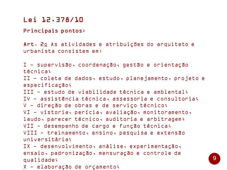 9 Lei 12.378/10 Principais pontos: Art.