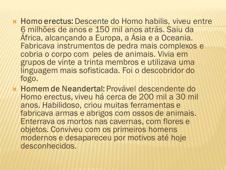  Homo sapiens: Descendente do Homo erectus, surgiu entre 100 mil e 50 mil anos atrás.