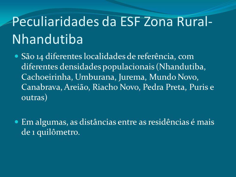 Peculiaridades da ESF Zona Rural- Nhandutiba São 14 diferentes localidades de referência, com diferentes densidades populacionais (Nhandutiba, Cachoei
