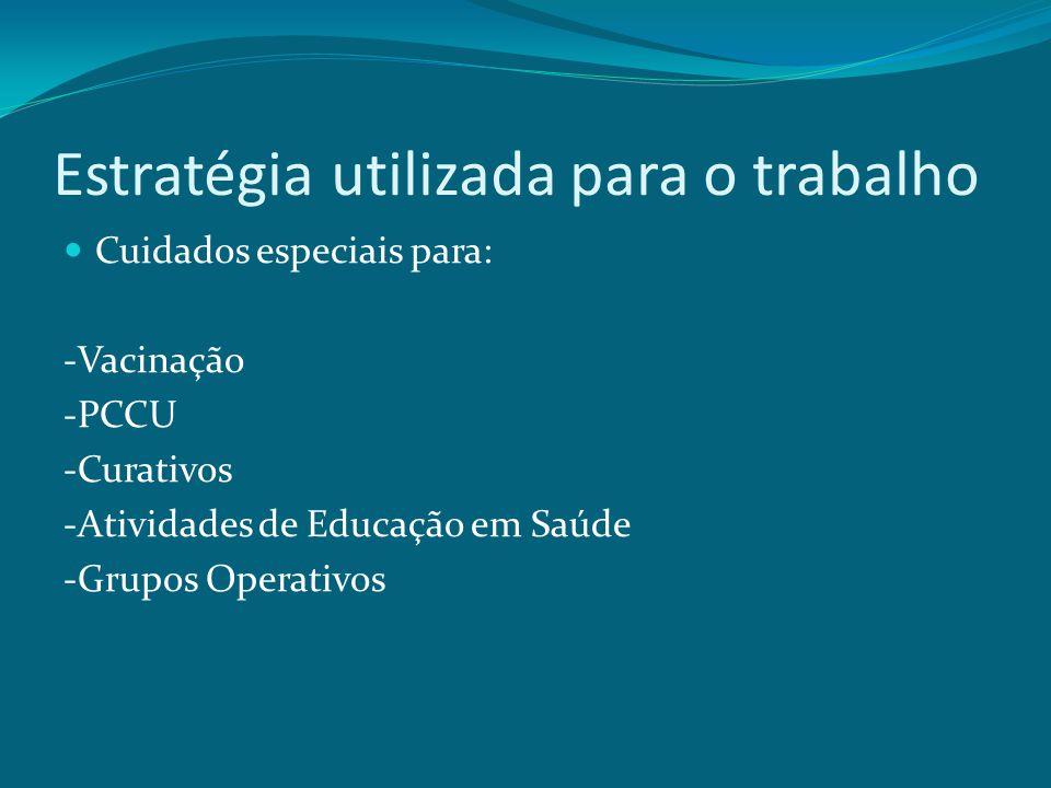 Estratégia utilizada para o trabalho Cuidados especiais para: -Vacinação -PCCU -Curativos -Atividades de Educação em Saúde -Grupos Operativos