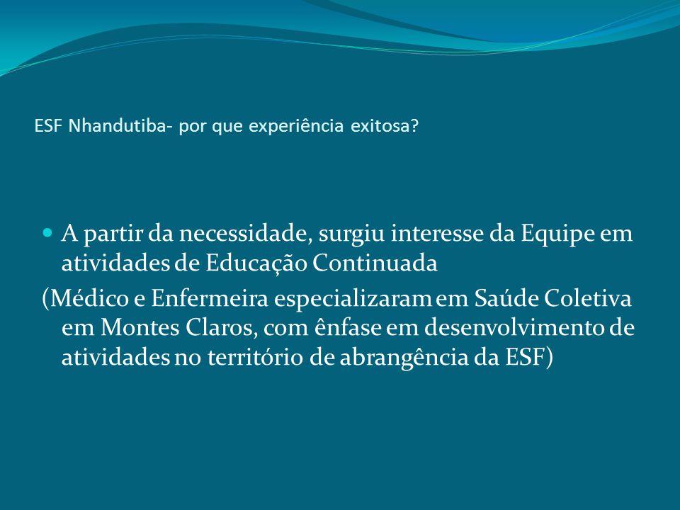 ESF Nhandutiba- por que experiência exitosa ? A partir da necessidade, surgiu interesse da Equipe em atividades de Educação Continuada (Médico e Enfer