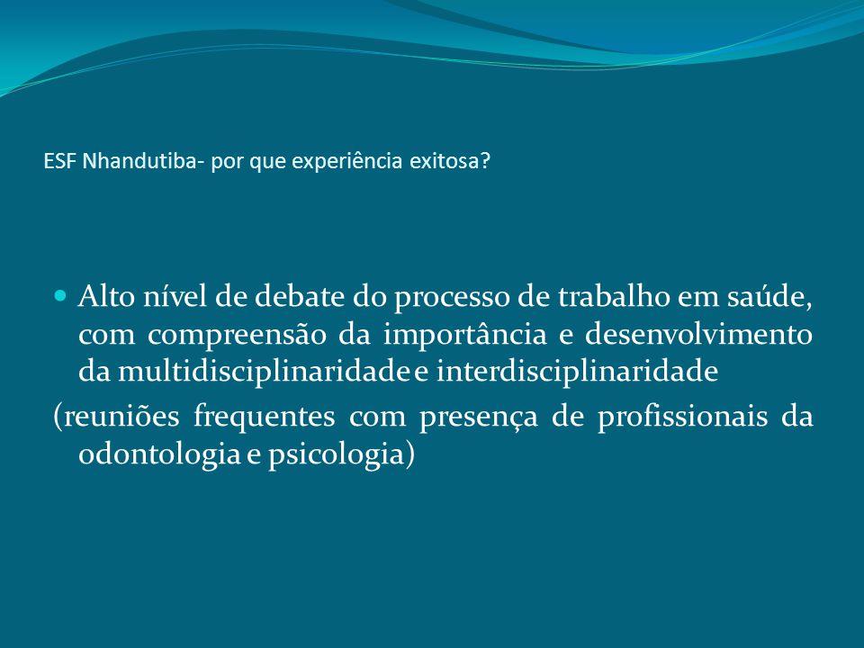 ESF Nhandutiba- por que experiência exitosa? Alto nível de debate do processo de trabalho em saúde, com compreensão da importância e desenvolvimento d