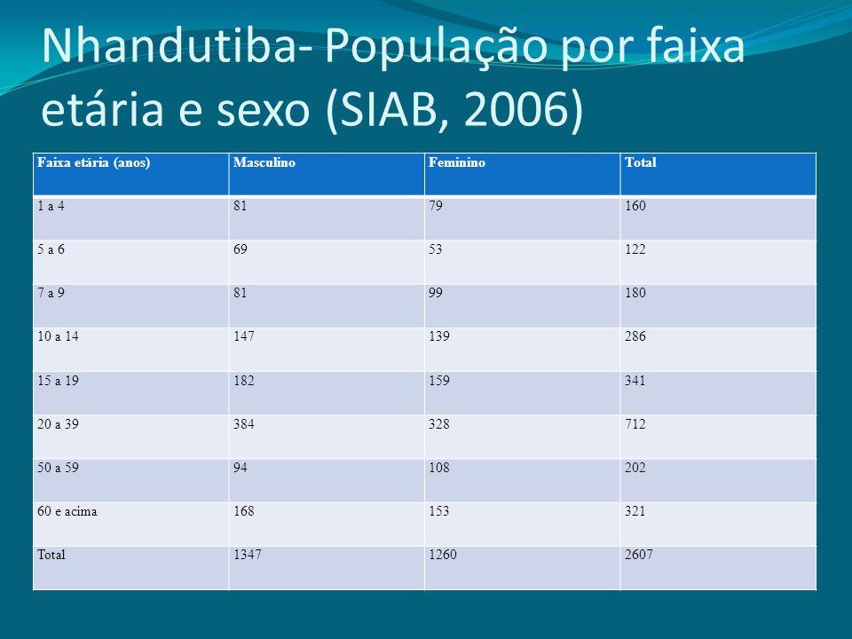 Nhandutiba- População por faixa etária e sexo (SIAB, 2006) Faixa etária (anos)MasculinoFemininoTotal 1 a 48179160 5 a 66953122 7 a 98199180 10 a 14147