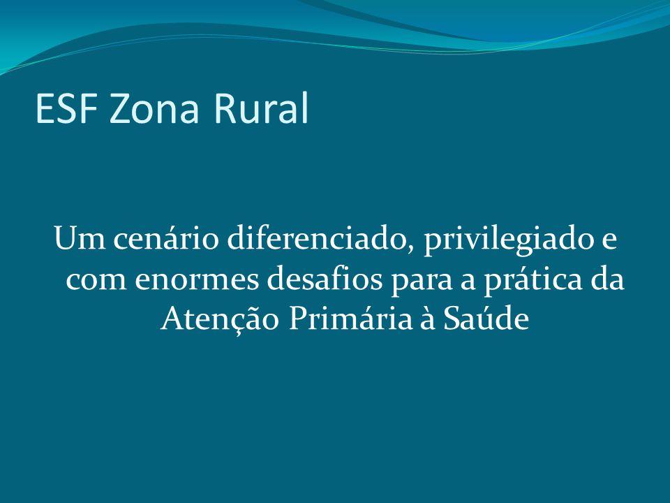 ESF Zona Rural Um cenário diferenciado, privilegiado e com enormes desafios para a prática da Atenção Primária à Saúde