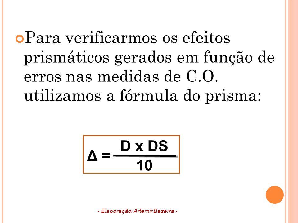 Para verificarmos os efeitos prismáticos gerados em função de erros nas medidas de C.O. utilizamos a fórmula do prisma: - Elaboração: Artemir Bezerra