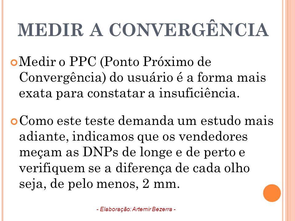 MEDIR A CONVERGÊNCIA Medir o PPC (Ponto Próximo de Convergência) do usuário é a forma mais exata para constatar a insuficiência. Como este teste deman