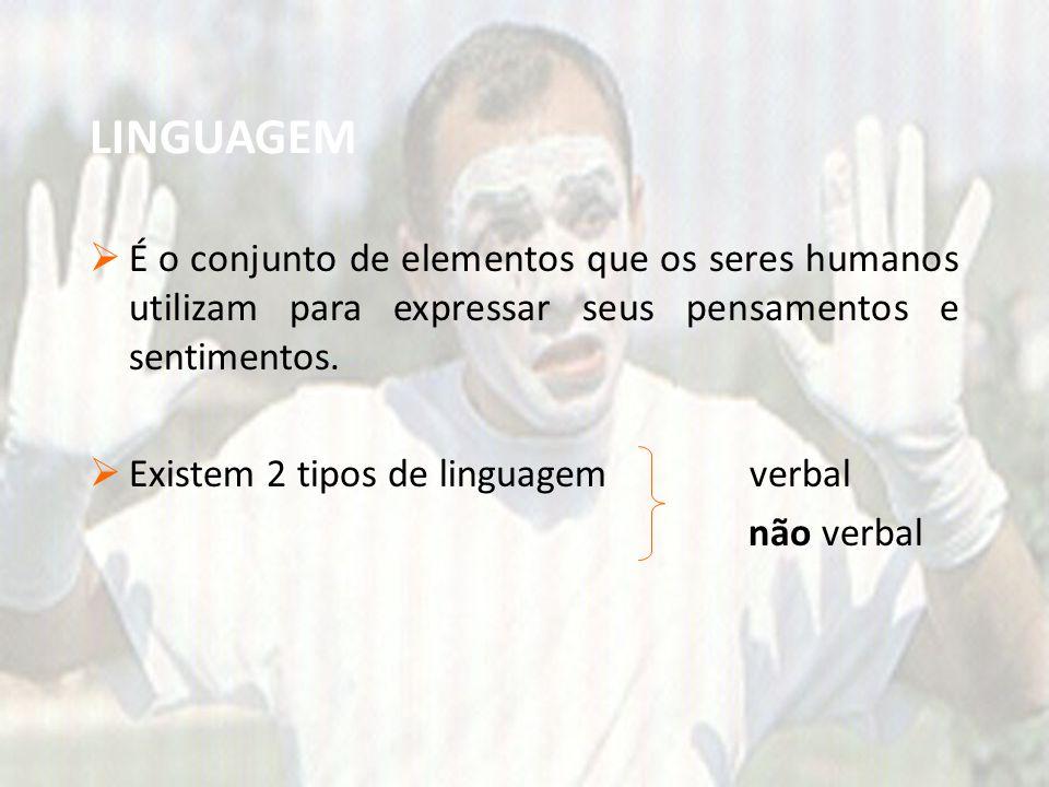LINGUAGEM  É o conjunto de elementos que os seres humanos utilizam para expressar seus pensamentos e sentimentos.  Existem 2 tipos de linguagem verb