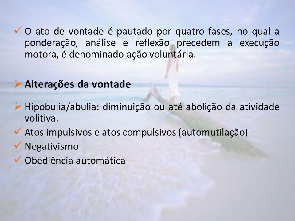 O ato de vontade é pautado por quatro fases, no qual a ponderação, análise e reflexão precedem a execução motora, é denominado ação voluntária.  Alte