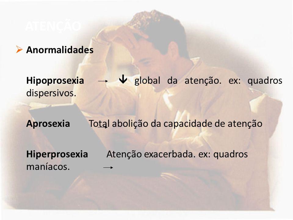 ATENÇÃO  Anormalidades Hipoprosexia  global da atenção. ex: quadros dispersivos. Aprosexia Total abolição da capacidade de atenção Hiperprosexia Ate
