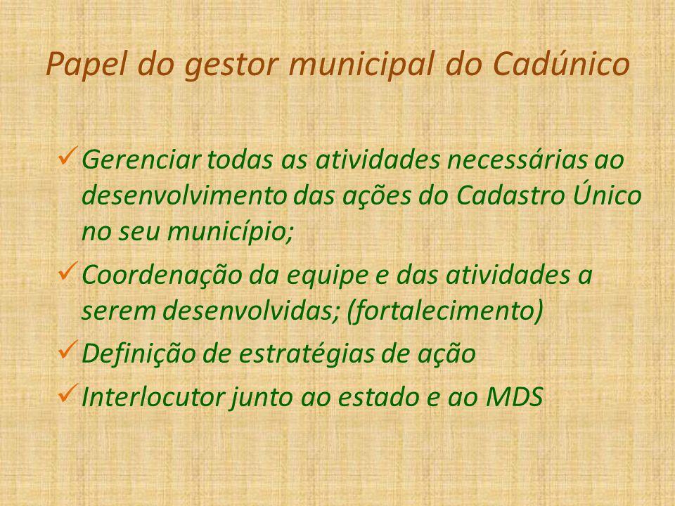 Papel do gestor municipal do Cadúnico Gerenciar todas as atividades necessárias ao desenvolvimento das ações do Cadastro Único no seu município; Coord