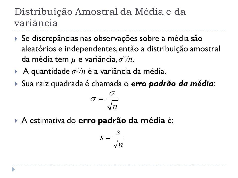 Distribuição Amostral da Média e da variância  Se discrepâncias nas observações sobre a média são aleatórios e independentes, então a distribuição am