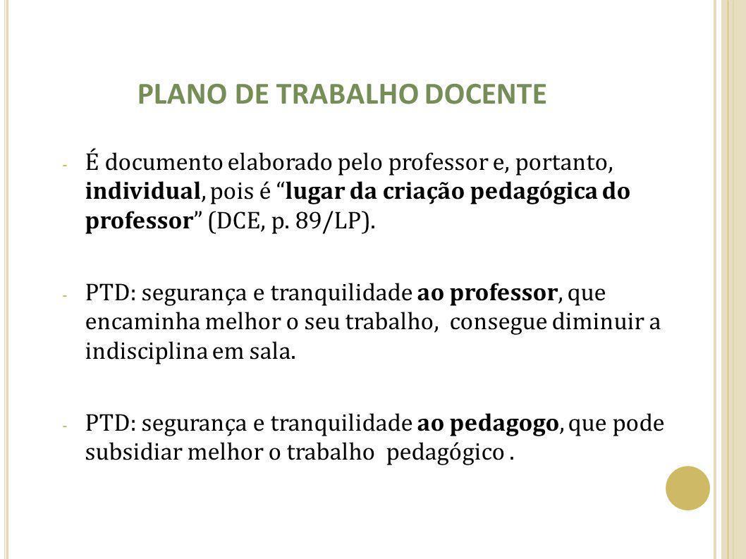 """PLANO DE TRABALHO DOCENTE - É documento elaborado pelo professor e, portanto, individual, pois é """"lugar da criação pedagógica do professor"""" (DCE, p. 8"""