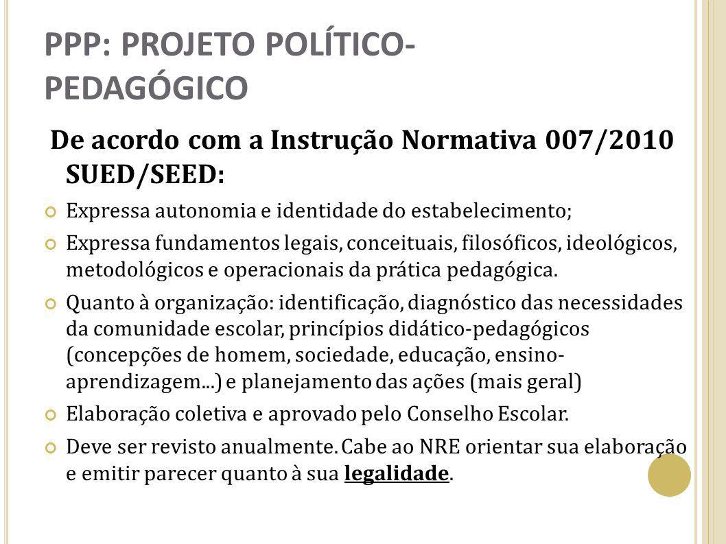 PPP: PROJETO POLÍTICO- PEDAGÓGICO De acordo com a Instrução Normativa 007/2010 SUED/SEED: Expressa autonomia e identidade do estabelecimento; Expressa