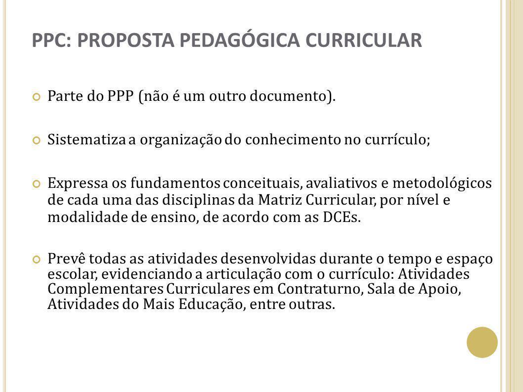 PPC: PROPOSTA PEDAGÓGICA CURRICULAR Parte do PPP (não é um outro documento). Sistematiza a organização do conhecimento no currículo; Expressa os funda
