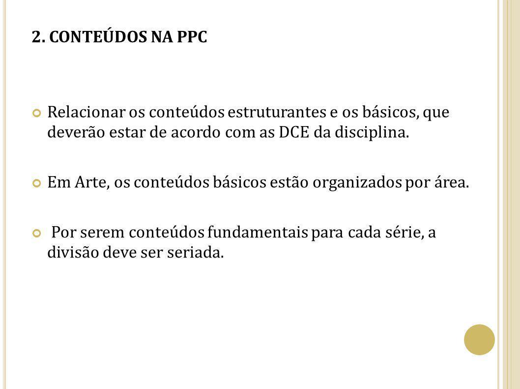 2. CONTEÚDOS NA PPC Relacionar os conteúdos estruturantes e os básicos, que deverão estar de acordo com as DCE da disciplina. Em Arte, os conteúdos bá