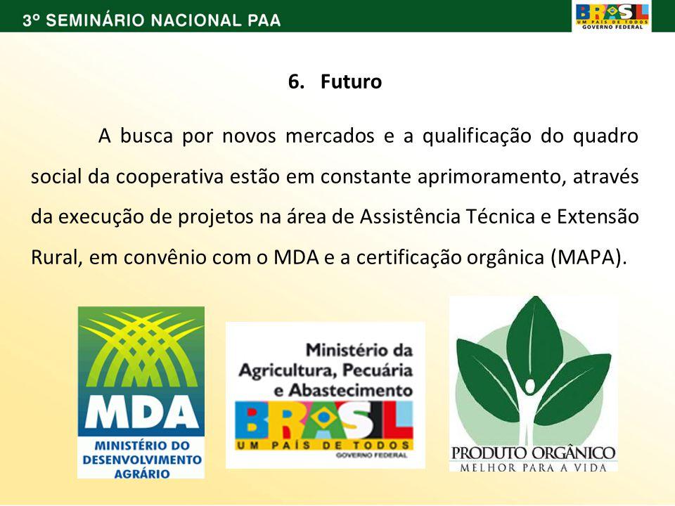 6. Futuro A busca por novos mercados e a qualificação do quadro social da cooperativa estão em constante aprimoramento, através da execução de projeto