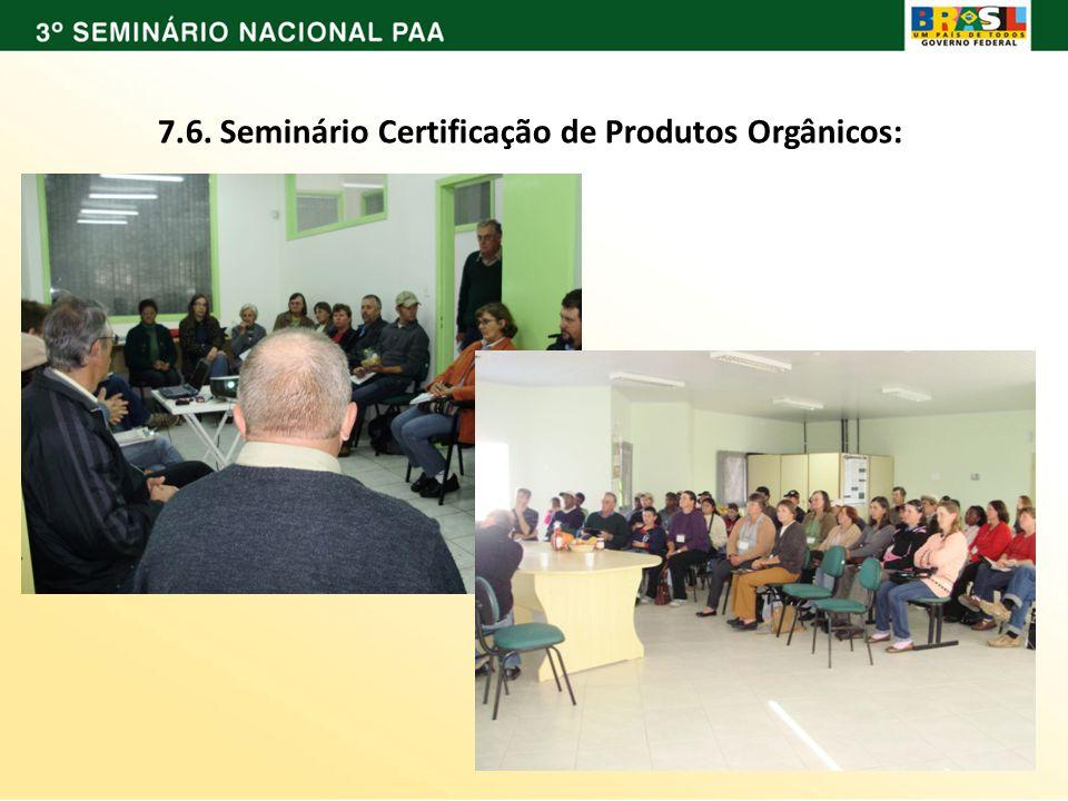 7.6. Seminário Certificação de Produtos Orgânicos: