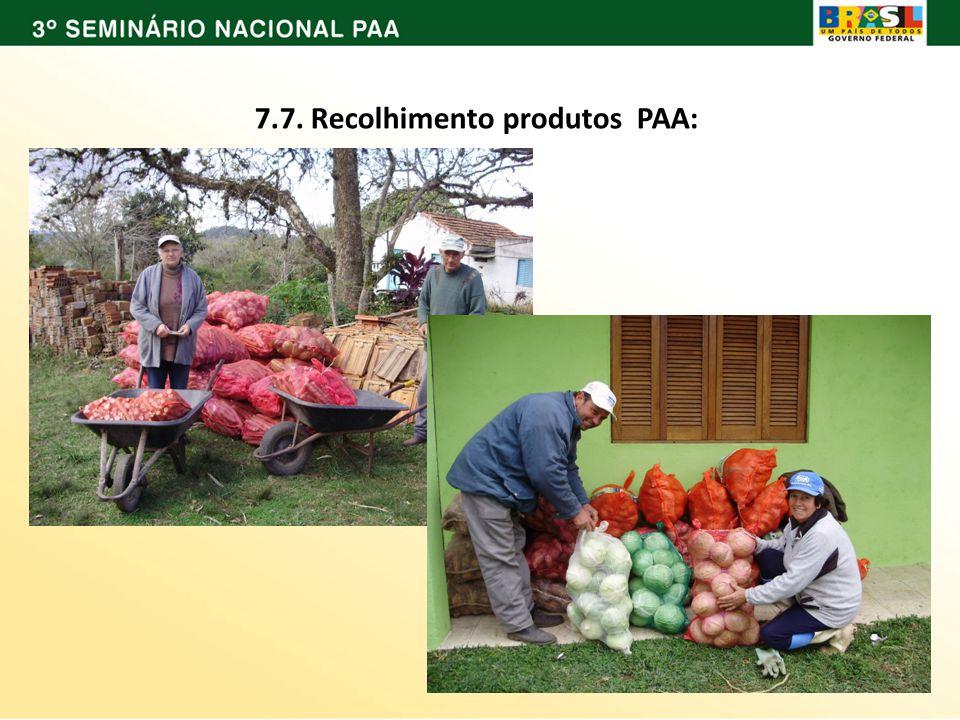 7.7. Recolhimento produtos PAA: