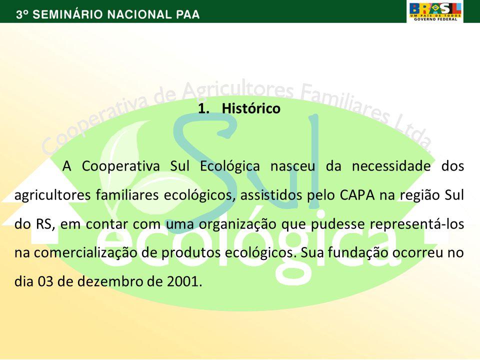1.Histórico A Cooperativa Sul Ecológica nasceu da necessidade dos agricultores familiares ecológicos, assistidos pelo CAPA na região Sul do RS, em contar com uma organização que pudesse representá-los na comercialização de produtos ecológicos.