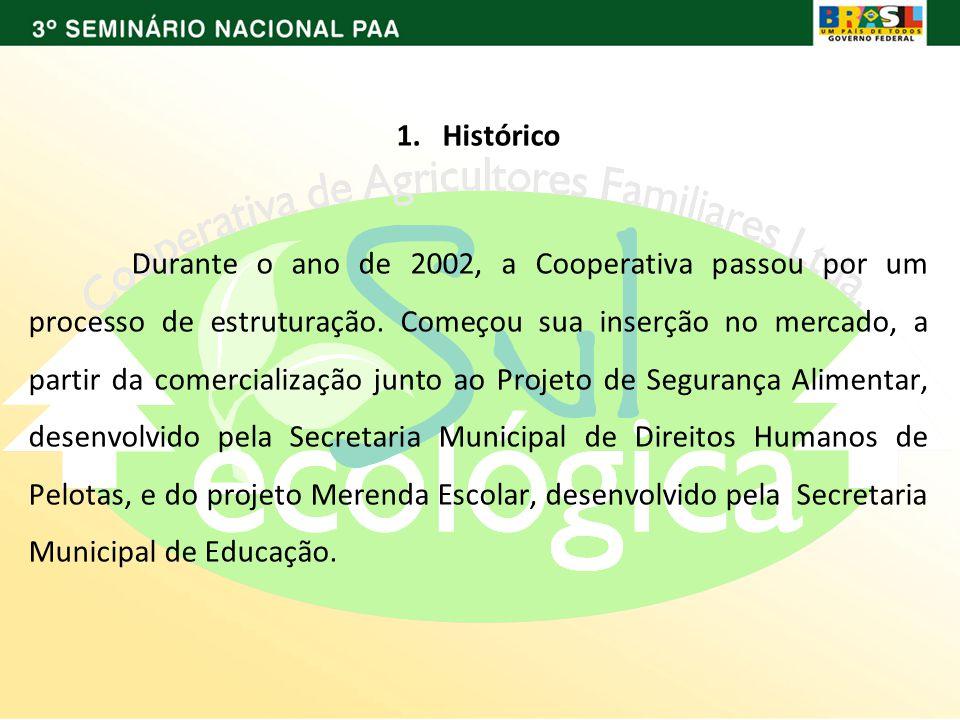 1. Histórico Durante o ano de 2002, a Cooperativa passou por um processo de estruturação.