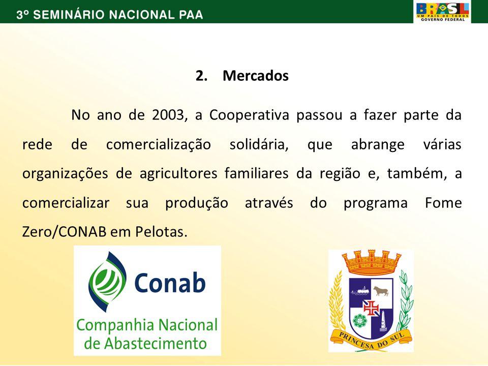 2. Mercados No ano de 2003, a Cooperativa passou a fazer parte da rede de comercialização solidária, que abrange várias organizações de agricultores f