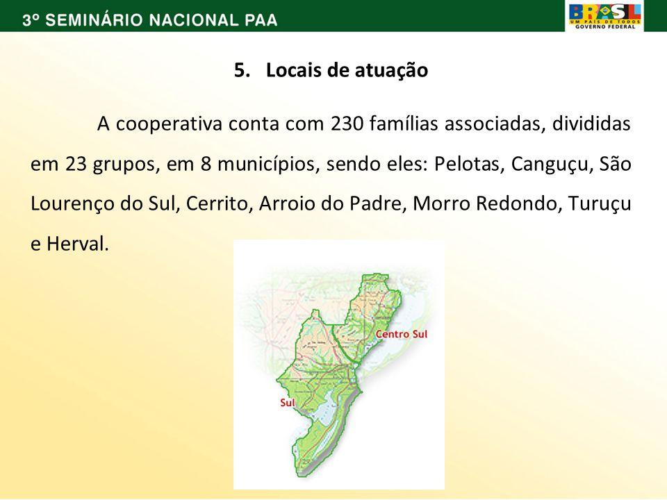 5. Locais de atuação A cooperativa conta com 230 famílias associadas, divididas em 23 grupos, em 8 municípios, sendo eles: Pelotas, Canguçu, São Loure