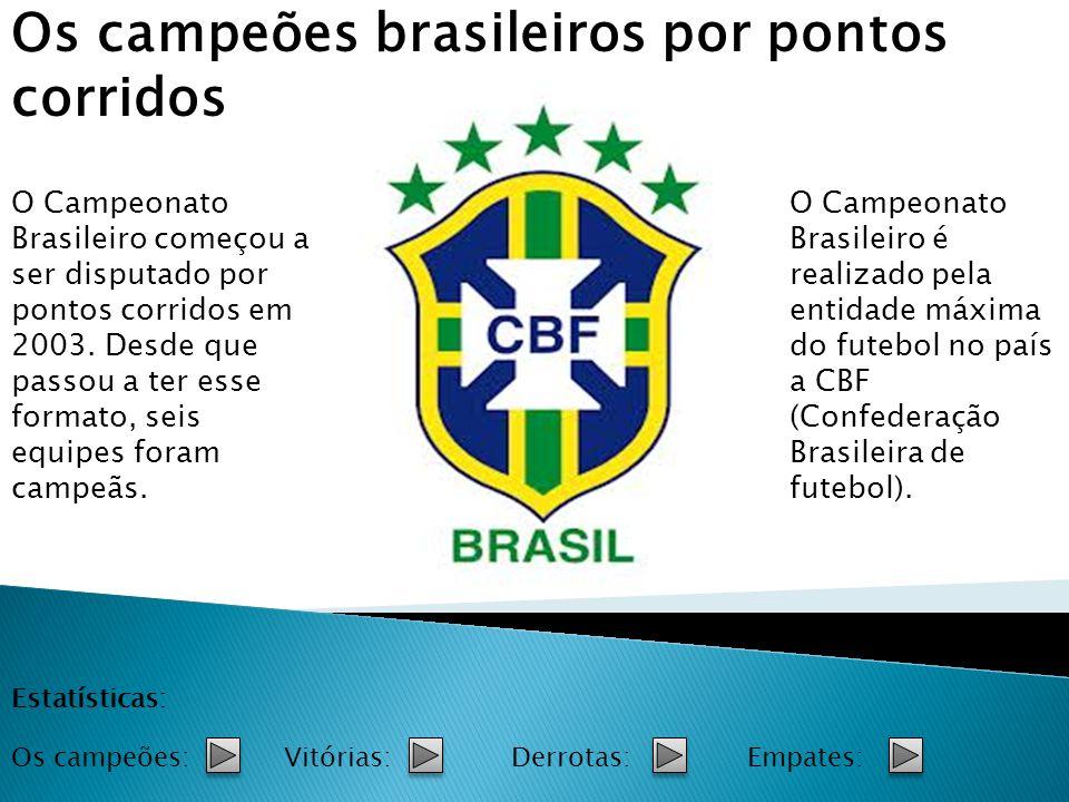 O Campeonato Brasileiro começou a ser disputado por pontos corridos em 2003. Desde que passou a ter esse formato, seis equipes foram campeãs. Os campe