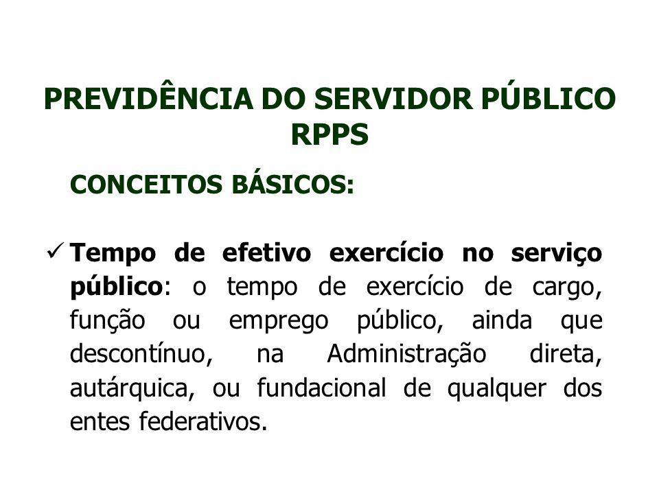 PREVIDÊNCIA DO SERVIDOR PÚBLICO RPPS CONCEITOS BÁSICOS: Tempo de efetivo exercício no serviço público: o tempo de exercício de cargo, função ou empreg