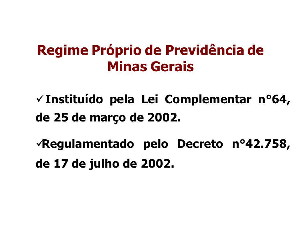Regime Próprio de Previdência de Minas Gerais Instituído pela Lei Complementar n°64, de 25 de março de 2002. Regulamentado pelo Decreto n°42.758, de 1