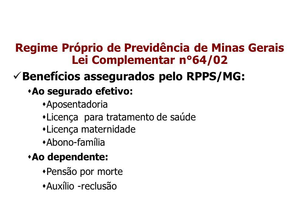 Regime Próprio de Previdência de Minas Gerais Lei Complementar n°64/02 Benefícios assegurados pelo RPPS/MG:  Ao segurado efetivo:  Aposentadoria  L